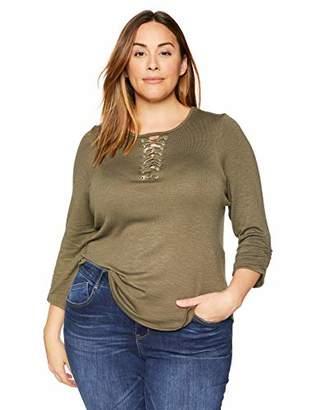 Democracy Women's Plus Size 3/4 Sleeve Shirt w Lace Up Neck