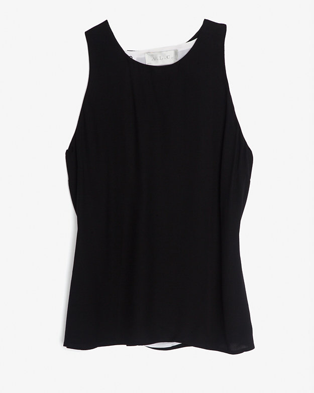 A.L.C. Contrast Button Back Placket Sleeveless Blouse