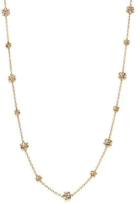 """Temple St. Clair 18K Yellow Gold Royal Blue Moonstone Trio Necklace with Pavé Diamonds, 32"""""""