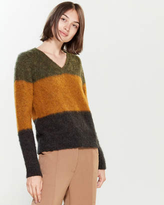 Roberto Collina Color Block Marled V-Neck Long Sleeve Sweater