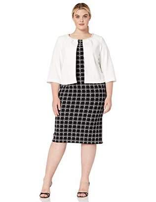 Maya Brooke Women's Plus Size Checkered Jacket Dress