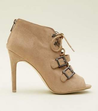 New Look Light Brown Lace Up Peep Toe Shoe Boots
