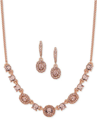 "Givenchy Crystal & Stone Collar Necklace & Oval Drop Earrings Box Set, 16"" + 3"" extender"