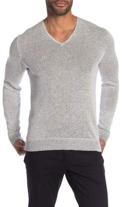 John Varvatos Marled V-Neck Linen Blend Sweater