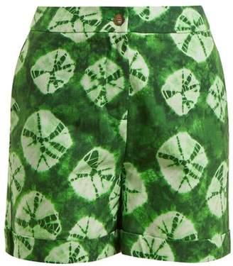 Stella Jean Tie Dye Print Cotton Shorts - Womens - Green