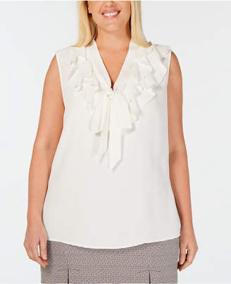 f632280c92c Kasper Plus Size Ruffled Tie-Neck Blouse