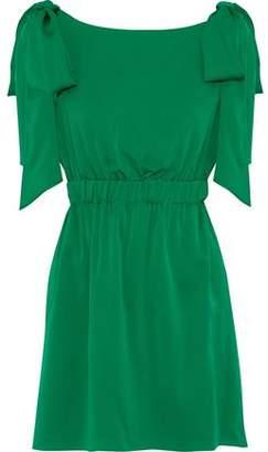 Milly Allie Bow-Embellished Silk-Blend Mini Dress
