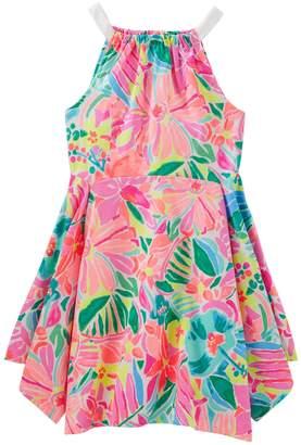 Osh Kosh Oshkosh Bgosh Girls 4-12 Floral Handkerchief Hem Dress
