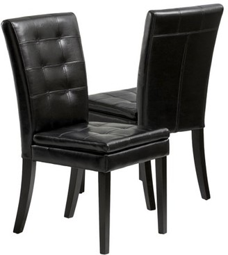 Clayton Noble House Black Leather Dining Chair (Set of 2)