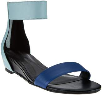 Halston H By H by Leather Sandal with Mini Hidden Wedge - Bethany
