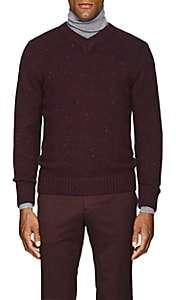 Inis Meain Men's Donegal-Effect Wool-Cashmere Sweater - Wine