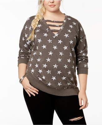 Almost Famous Trendy Plus Size Cutout Sweatshirt