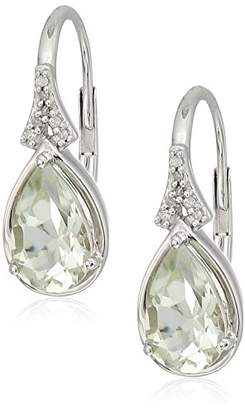 Sterling Silver Amethyst with White Diamond accent Teardrop Earrings