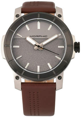 Morphic M54 Series Leather-Band Chronograph Watch - Silver/Brown