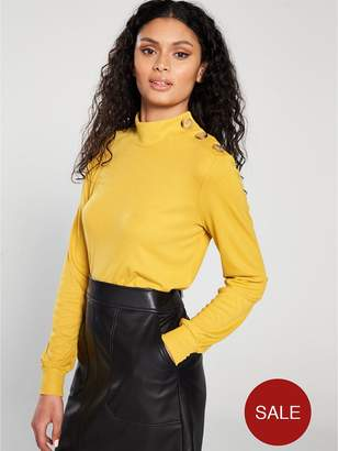 Warehouse Button Shoulder Mutton Sleeve Top - Mustard