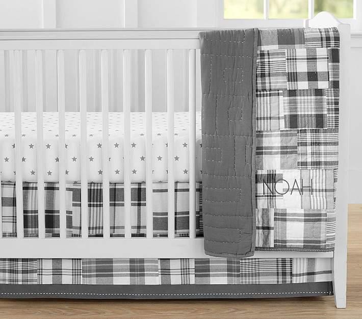 Gray Madras Nursery Quilt Bedding Set