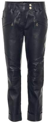 Balmain Cropped leather pants
