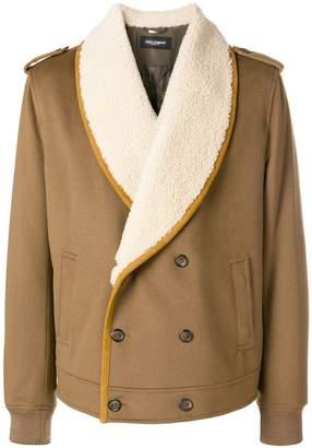 Dolce & Gabbana wrap-front shearling jacket