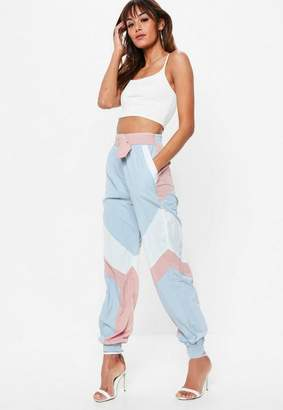 Missguided Pink Shell Suit Belted Pants