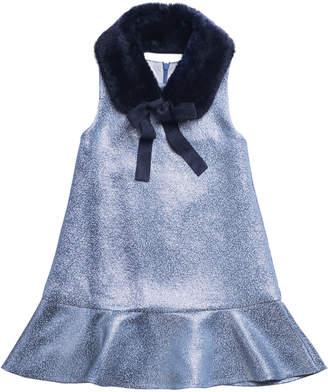 Imoga Sleeveless Metallic Dress w/ Faux Fur Shawl Collar, Size 8-14