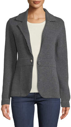 Neiman Marcus Cashmere One-Button Blazer, Grey