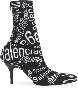 Balenciaga Round Toe Monogram Knit Booties