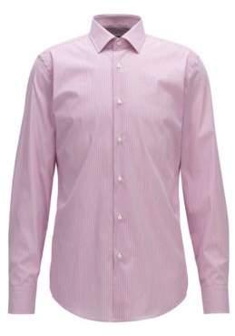 BOSS Hugo Pinstriped Cotton Dress Shirt, Slim Fit Jenno 17.5 Dark pink