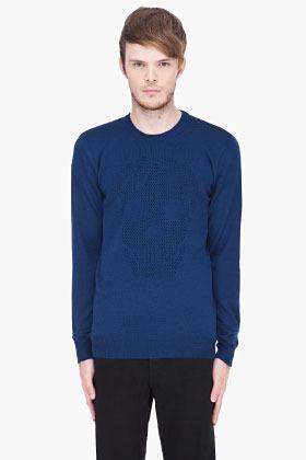 Alexander McQueen blue mesh Skull sweater