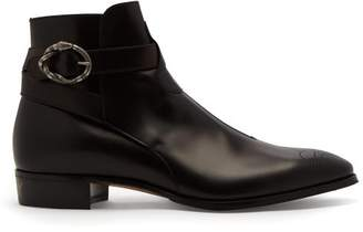 Gucci Buckled Leather Boots - Mens - Black