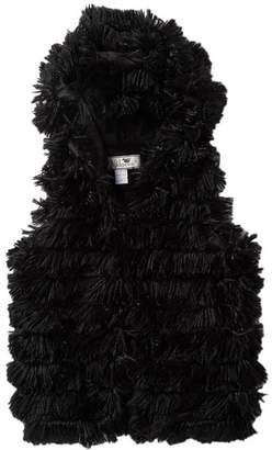 WIDGEON Faux Fur Hooded Shaggy Vest (Big Girls)