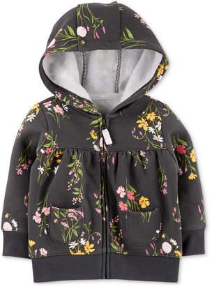 Carter's Baby Girls Floral Full-Zip Hooded Sweatshirt