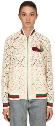 Gucci Flower Leaf Lace Bomber Jacket