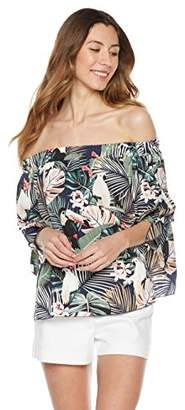 Plumberry Women's Off Shoulder Bell Sleeve Floral Printed Summer Boho Casual Loose Blouse Shirts Tops