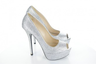 Prada Silver Glitter Heels