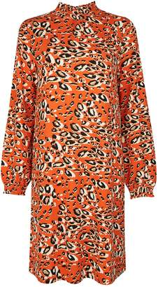 Dorothy Perkins Womens Animal Print Shirred Neck Shift Dress