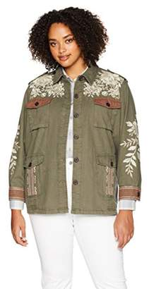 11096627e70 3J Workshop by Johnny Was Women s Plus Size Military Jacket with Embroidery  Detail