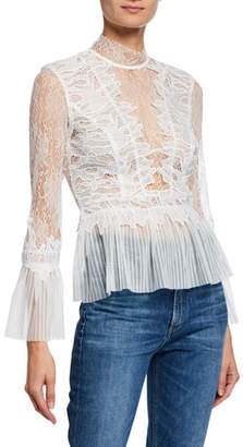 Bardot Francesca High-Neck Lace Peplum Top