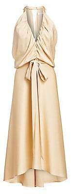 Chloé Women's Satin Crepe Strappy Ruched V-Front Dress