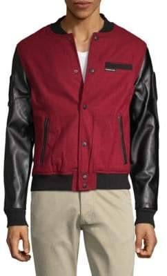 Members Only Faux Leather-Sleeve Varsity Jacket