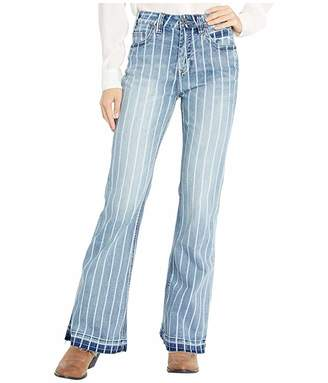 Rock and Roll Cowgirl High-Rise Striped Trousers in Medium Wash W8H2533