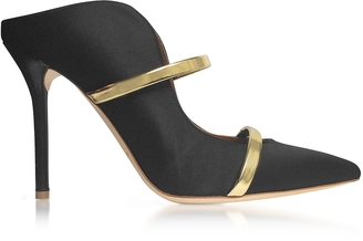 Malone Souliers Maureen Black Satin and Metallic Nappa Leather High Heel Mules