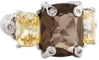 Judith Ripka Smoky Quartz, Canary Crystal & Diamond Cocktail Ring
