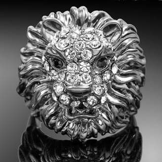 Ring Unisex 18k White Gold Plated Swarovski Crystal Lion Party R363 (brass-plated-gold, 9)