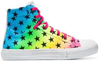 Amiri multicoloured rainbow star high top sneakers