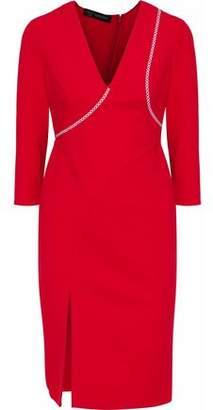 Versace Embroidered Stretch-Ponte Dress