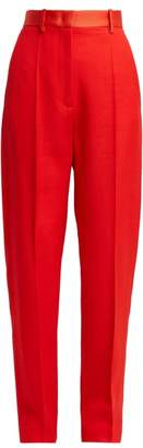Joseph Electra High Waisted Wool Trousers - Womens - Red