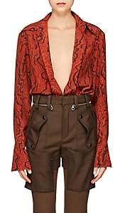 Chloé Women's Wave-Print Silk Blouse - Brown Pat.