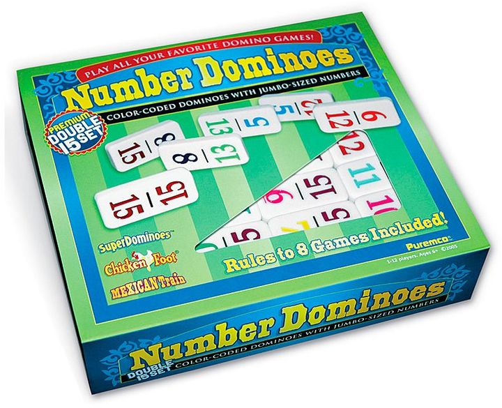 Premium Double 15 Number Dominoes Set by Puremco