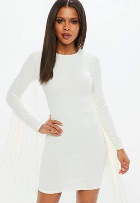Missguided White Tassel Long Sleeve Bodycon Mini Dress