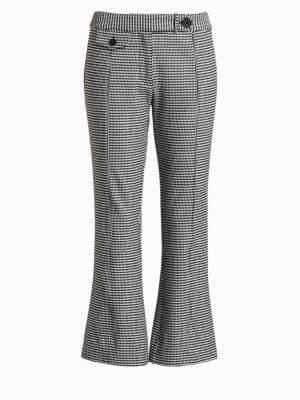 Derek Lam 10 Crosby Women's Flannel Plaid Crop Flare Trousers - Black White - Size 00